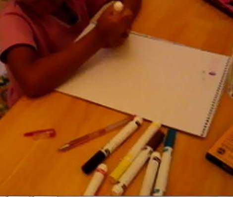 girl coloring, art, markers