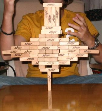 visual-spatial, jenga creation, building blocks, block tower
