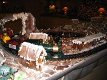 gingerbread, train, Christmas, village, snow