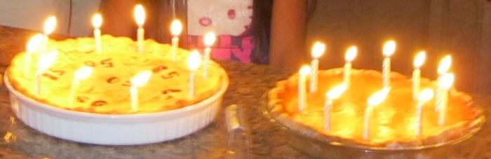 pie, pies, candles in pie, cherry pie, berry pie, pumpkin pie
