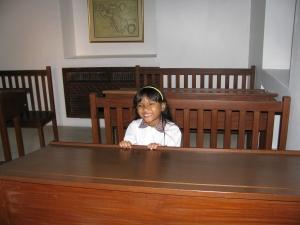 girl student, girl at desk, national school student