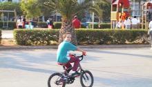 child cycling, park, playground