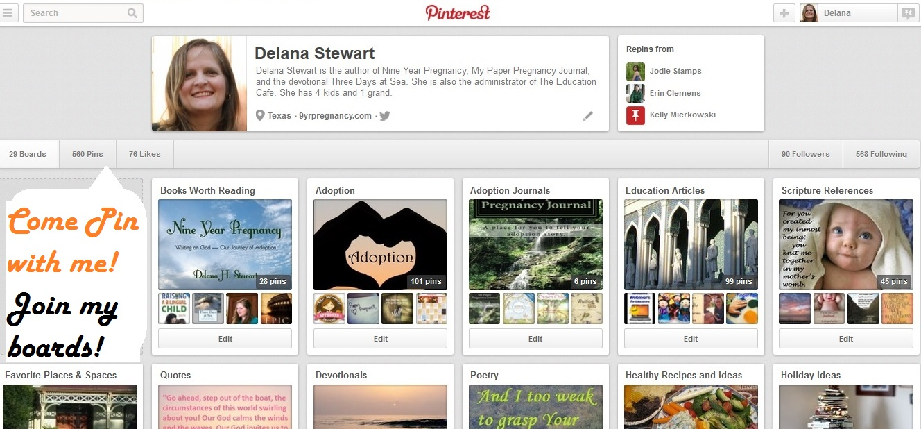 pinterest, boards, Delana Stewart