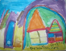 home, houses, child's painting